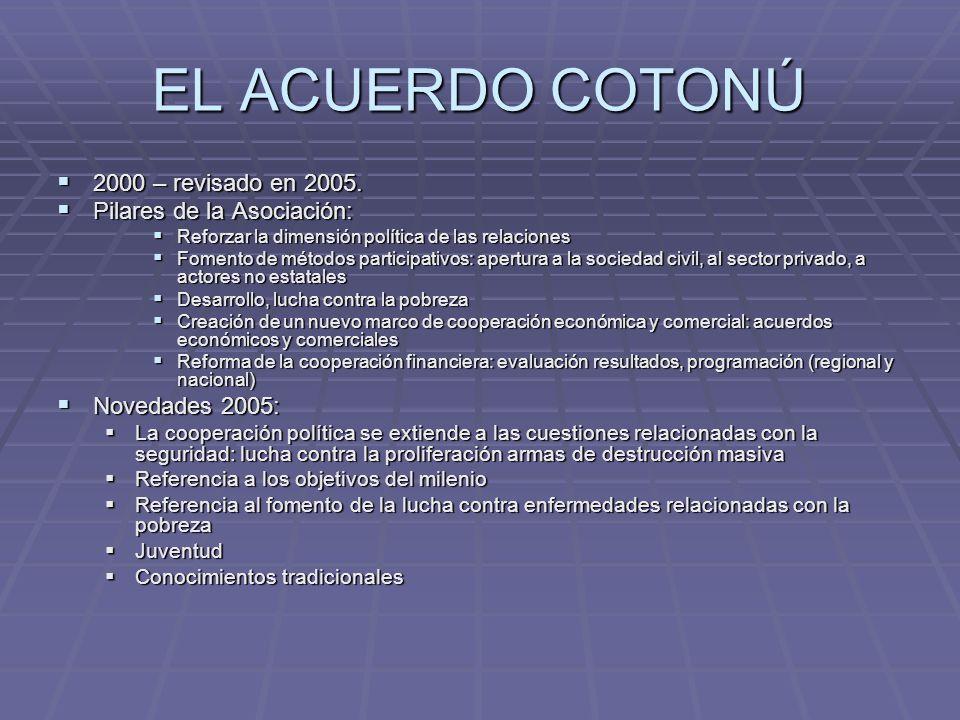 EL ACUERDO COTONÚ 2000 – revisado en 2005. 2000 – revisado en 2005. Pilares de la Asociación: Pilares de la Asociación: Reforzar la dimensión política