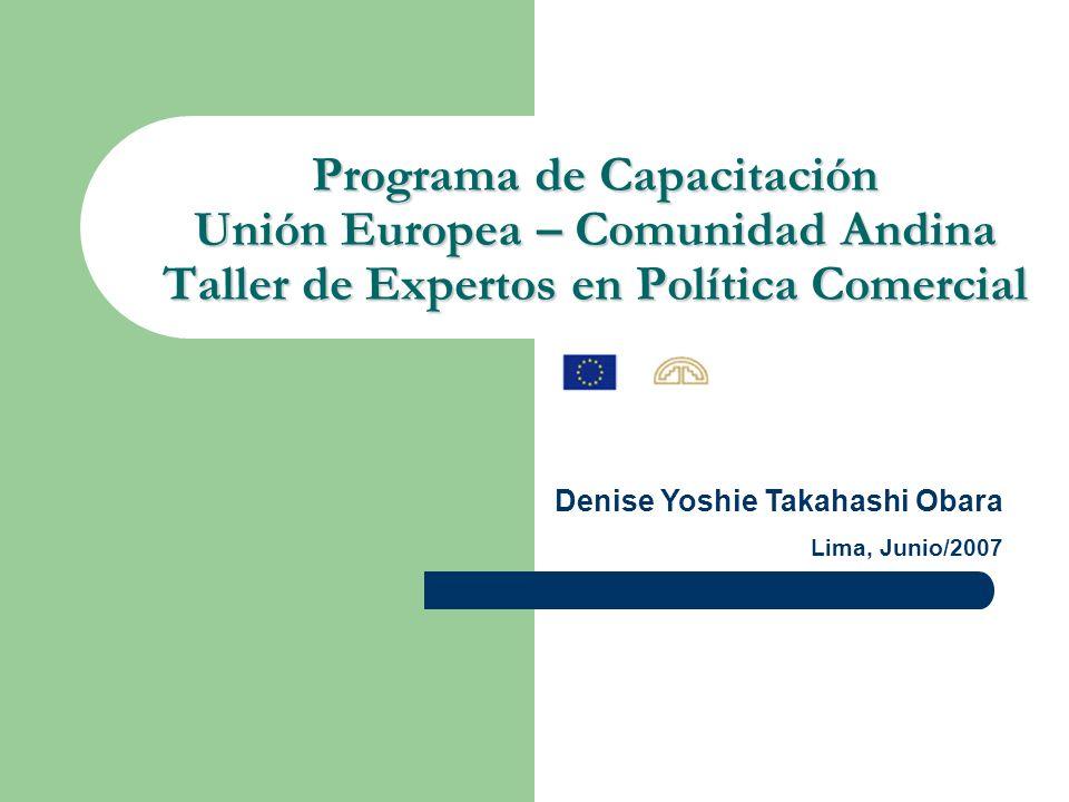 Programa de Capacitación Unión Europea – Comunidad Andina Taller de Expertos en Política Comercial Denise Yoshie Takahashi Obara Lima, Junio/2007