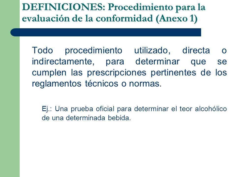 DEFINICIONES: Procedimiento para la evaluación de la conformidad(Anexo 1) DEFINICIONES: Procedimiento para la evaluación de la conformidad (Anexo 1) Todo procedimiento utilizado, directa o indirectamente, para determinar que se cumplen las prescripciones pertinentes de los reglamentos técnicos o normas.