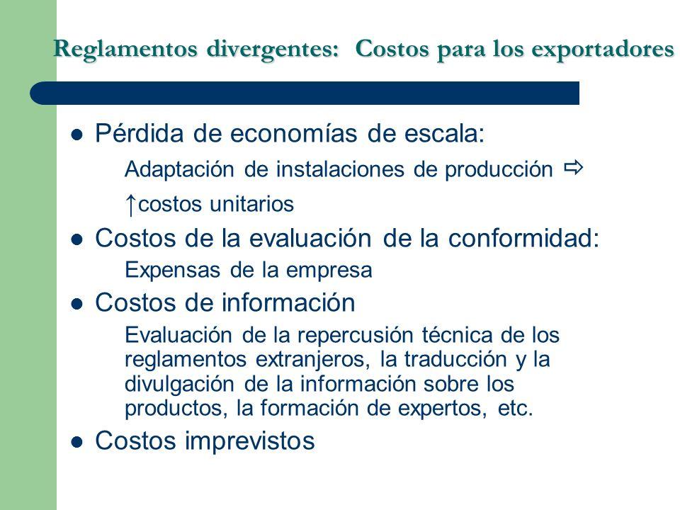 Reglamentos divergentes: Costos para los exportadores Pérdida de economías de escala: Adaptación de instalaciones de producción costos unitarios Costo