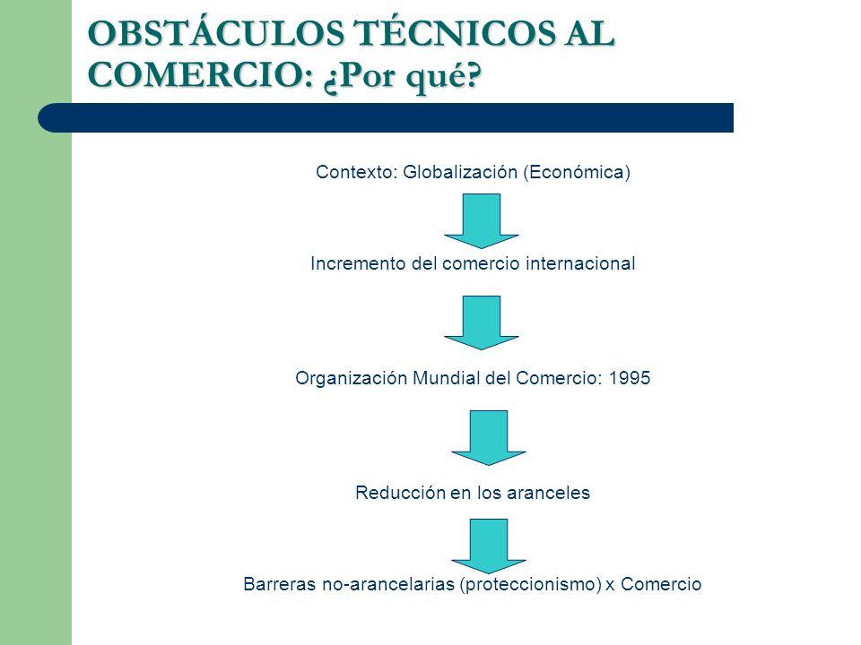 OBSTÁCULOS TÉCNICOS AL COMERCIO: ¿Por qué? Contexto: Globalización (Económica) Incremento del comercio internacional Organización Mundial del Comercio