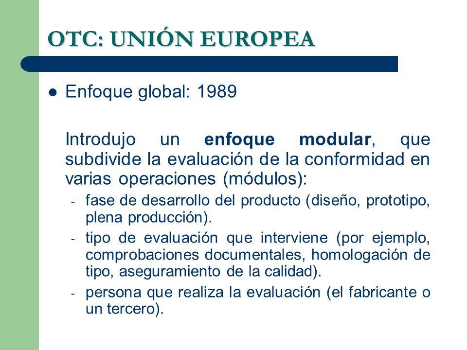 OTC: UNIÓN EUROPEA Enfoque global: 1989 Introdujo un enfoque modular, que subdivide la evaluación de la conformidad en varias operaciones (módulos): - fase de desarrollo del producto (diseño, prototipo, plena producción).