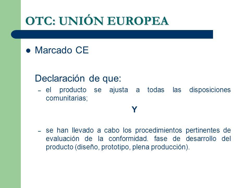 OTC: UNIÓN EUROPEA Marcado CE Declaración de que: – el producto se ajusta a todas las disposiciones comunitarias; Y – se han llevado a cabo los proced