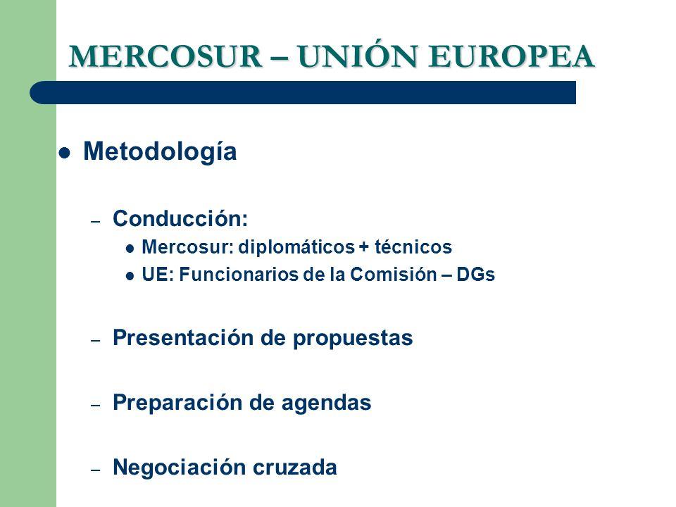 MERCOSUR – UNIÓN EUROPEA Metodología – Conducción: Mercosur: diplomáticos + técnicos UE: Funcionarios de la Comisión – DGs – Presentación de propuesta