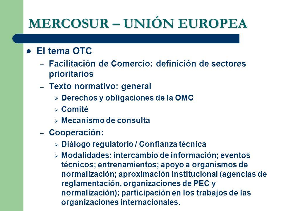 MERCOSUR – UNIÓN EUROPEA El tema OTC – Facilitación de Comercio: definición de sectores prioritarios – Texto normativo: general Derechos y obligacione