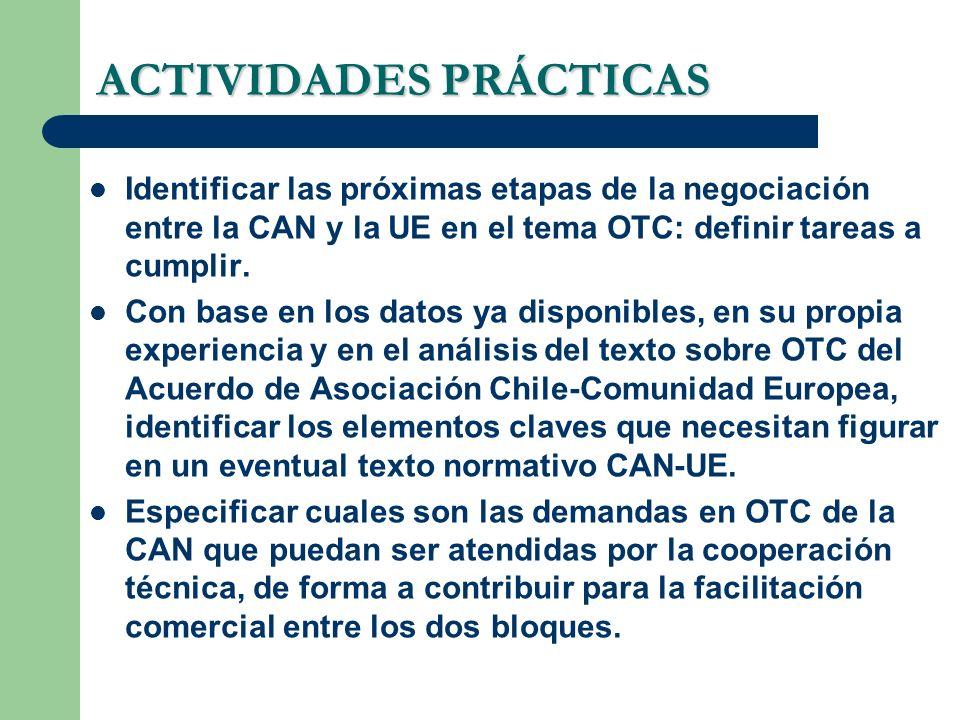 ACTIVIDADES PRÁCTICAS Identificar las próximas etapas de la negociación entre la CAN y la UE en el tema OTC: definir tareas a cumplir. Con base en los