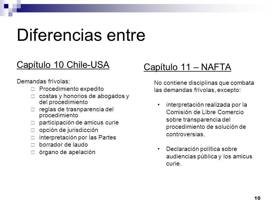 10 Diferencias entre Capítulo 10 Chile-USA Demandas frívolas: Procedimiento expedito costas y honorios de abogados y del procedimiento reglas de trasn