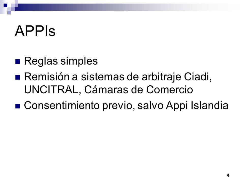 4 APPIs Reglas simples Remisión a sistemas de arbitraje Ciadi, UNCITRAL, Cámaras de Comercio Consentimiento previo, salvo Appi Islandia