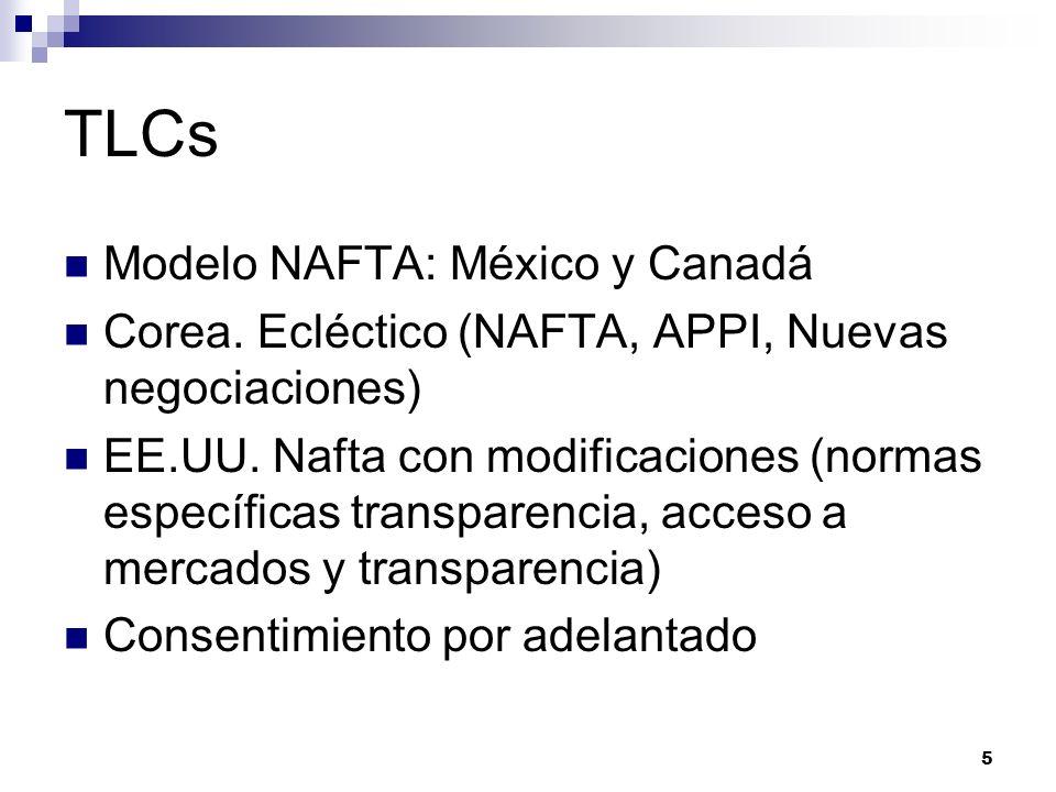 5 TLCs Modelo NAFTA: México y Canadá Corea. Ecléctico (NAFTA, APPI, Nuevas negociaciones) EE.UU. Nafta con modificaciones (normas específicas transpar