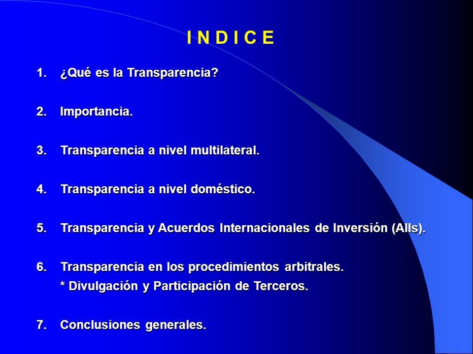 1.¿Qué es la Transparencia. 2.Importancia. 3.Transparencia a nivel multilateral.