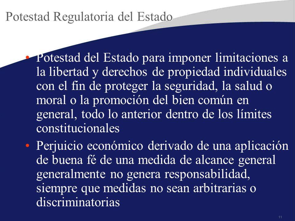 11 Potestad Regulatoria del Estado Potestad del Estado para imponer limitaciones a la libertad y derechos de propiedad individuales con el fin de prot