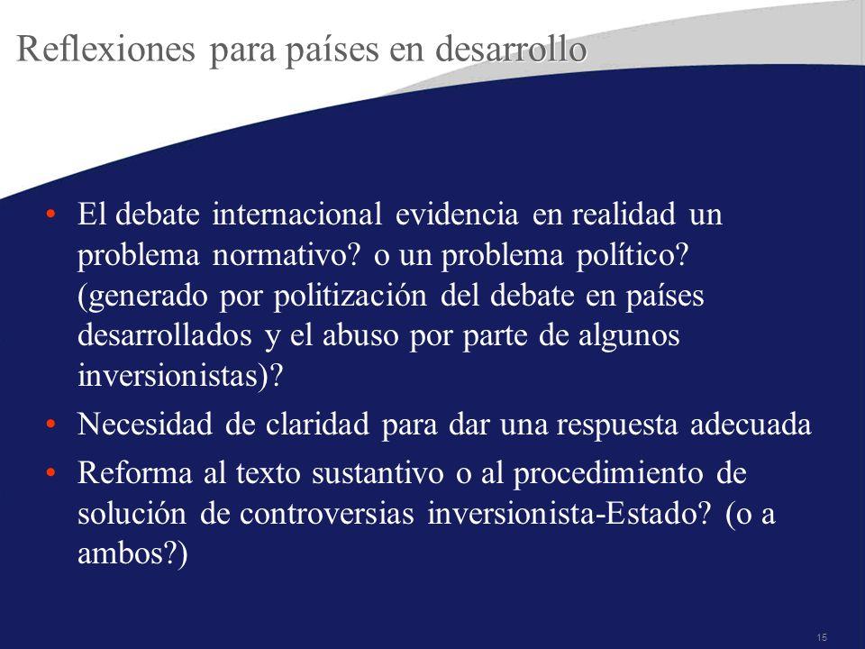 15 Reflexiones para países en desarrollo El debate internacional evidencia en realidad un problema normativo? o un problema político? (generado por po