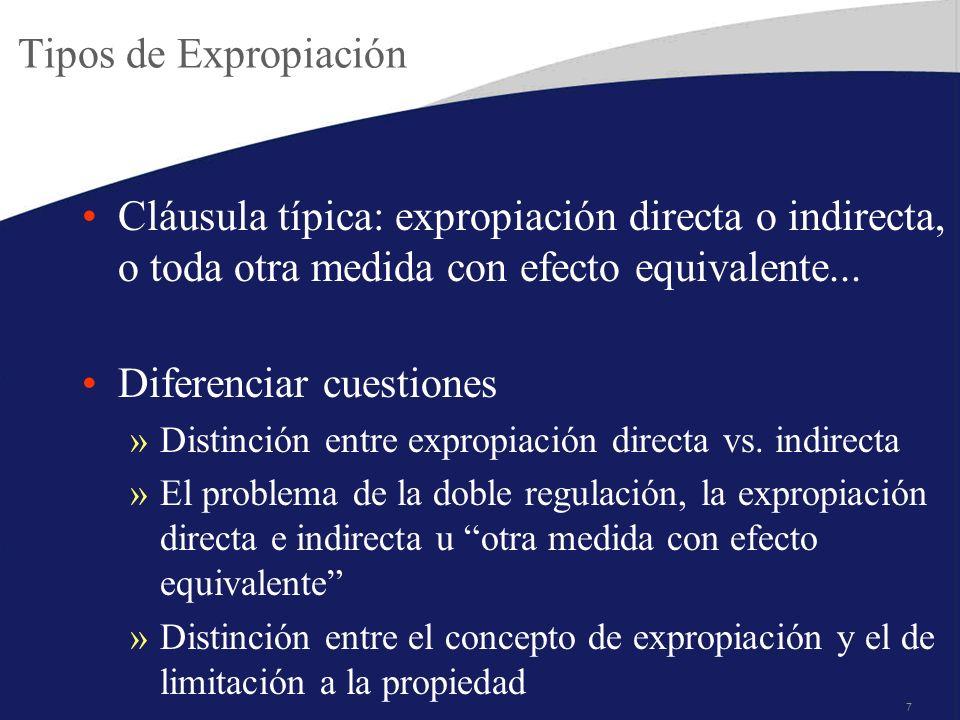 7 Tipos de Expropiación Cláusula típica: expropiación directa o indirecta, o toda otra medida con efecto equivalente... Diferenciar cuestiones »Distin
