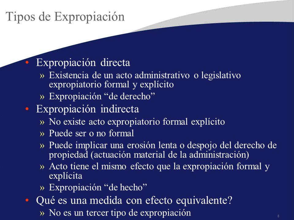 8 Tipos de Expropiación Expropiación directa »Existencia de un acto administrativo o legislativo expropiatorio formal y explícito »Expropiación de der