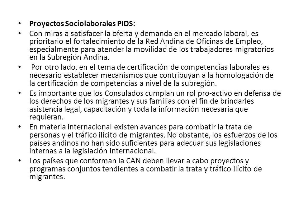 Proyectos Sociolaborales PIDS: Con miras a satisfacer la oferta y demanda en el mercado laboral, es prioritario el fortalecimiento de la Red Andina de Oficinas de Empleo, especialmente para atender la movilidad de los trabajadores migratorios en la Subregión Andina.