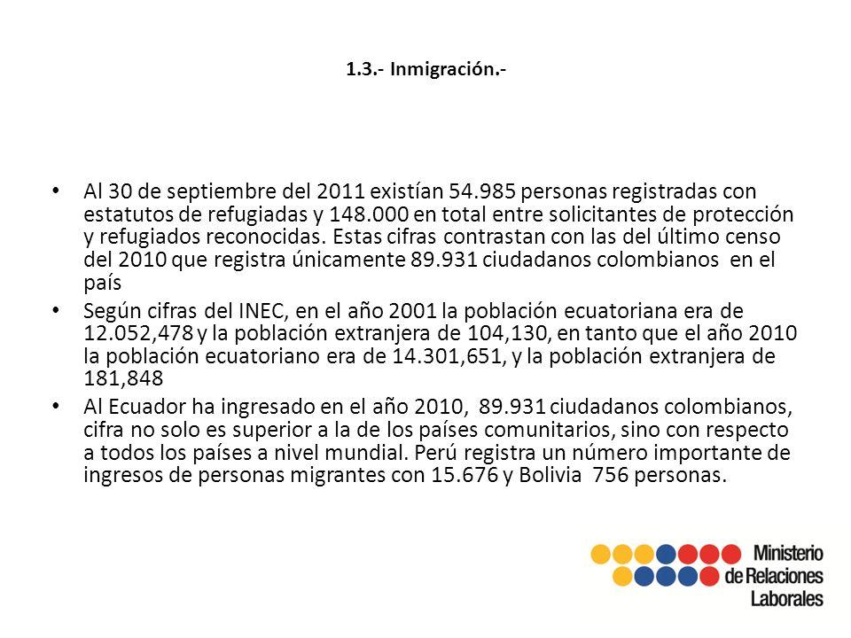 1.3.- Inmigración.- Al 30 de septiembre del 2011 existían 54.985 personas registradas con estatutos de refugiadas y 148.000 en total entre solicitantes de protección y refugiados reconocidas.