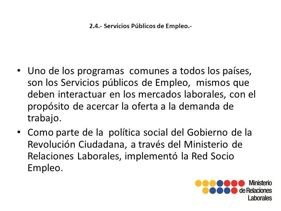 2.4.- Servicios Públicos de Empleo.- Uno de los programas comunes a todos los países, son los Servicios públicos de Empleo, mismos que deben interactuar en los mercados laborales, con el propósito de acercar la oferta a la demanda de trabajo.