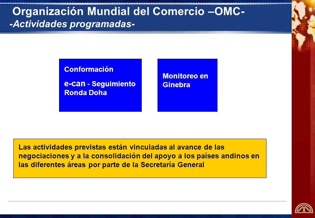 Organización Mundial del Comercio –OMC- -Actividades programadas- Las actividades previstas están vinculadas al avance de las negociaciones y a la con