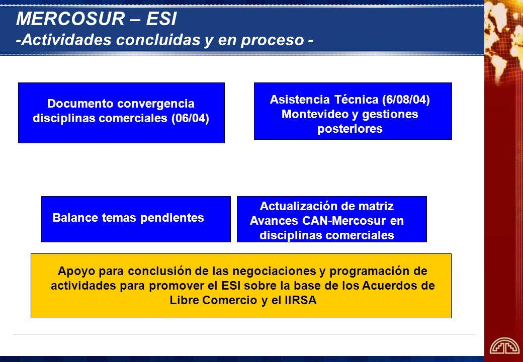 MERCOSUR – ESI -Actividades concluidas y en proceso - Documento convergencia disciplinas comerciales (06/04) Balance temas pendientes Asistencia Técni