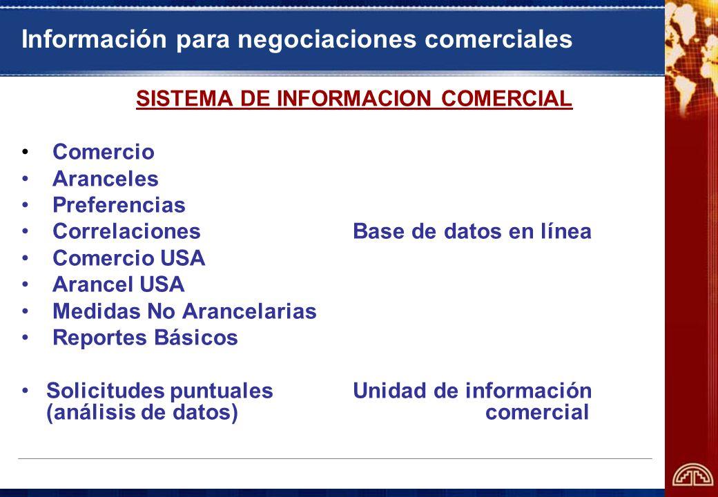 Información para negociaciones comerciales SISTEMA DE INFORMACION COMERCIAL Comercio Aranceles Preferencias CorrelacionesBase de datos en línea Comerc