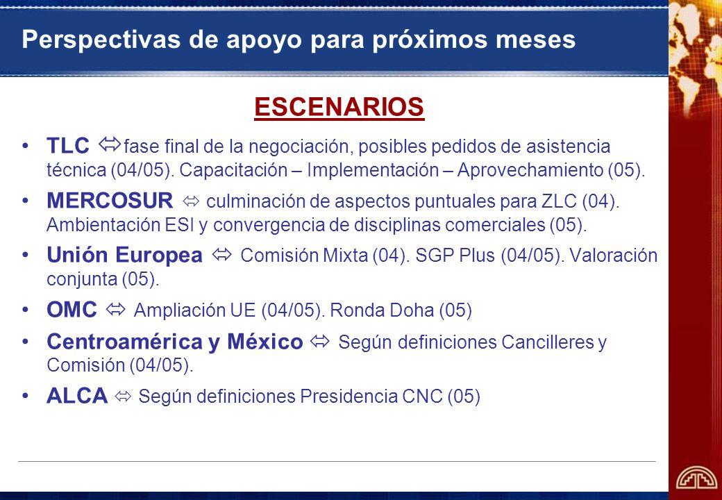Perspectivas de apoyo para próximos meses ESCENARIOS TLC fase final de la negociación, posibles pedidos de asistencia técnica (04/05). Capacitación –