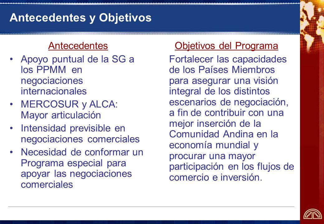 Antecedentes y Objetivos Antecedentes Apoyo puntual de la SG a los PPMM en negociaciones internacionales MERCOSUR y ALCA: Mayor articulación Intensida