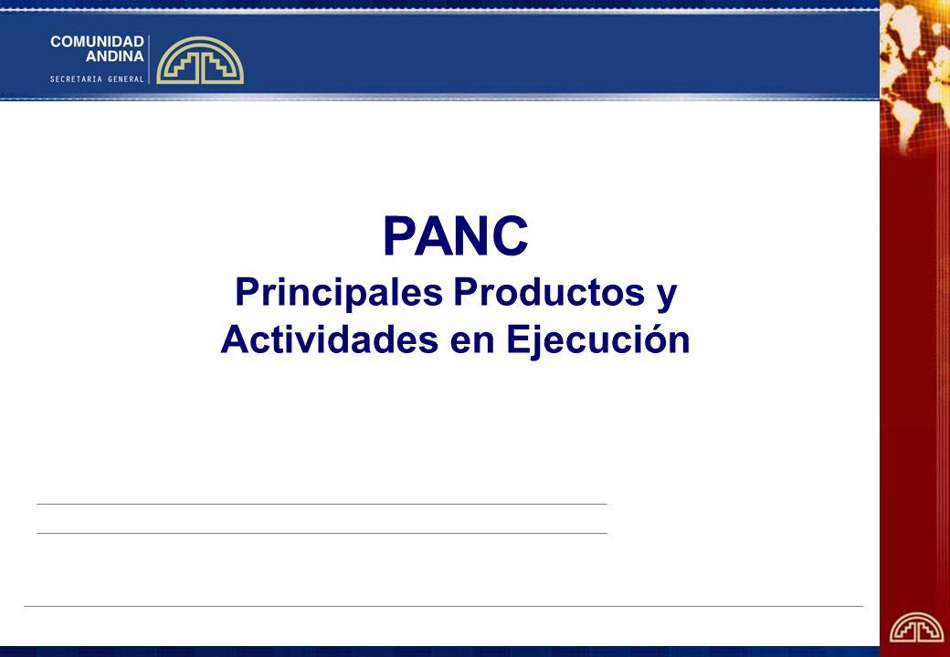 PANC Principales Productos y Actividades en Ejecución