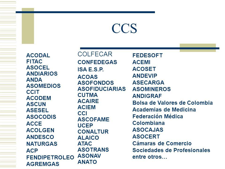 ACODAL FITAC ASOCEL ANDIARIOS ANDA ASOMEDIOS CCIT ACODEM ASCUN ASESEL ASOCODIS ACCE ACOLGEN ANDESCO NATURGAS ACP FENDIPETROLEO AGREMGAS COLFECAR CONFE