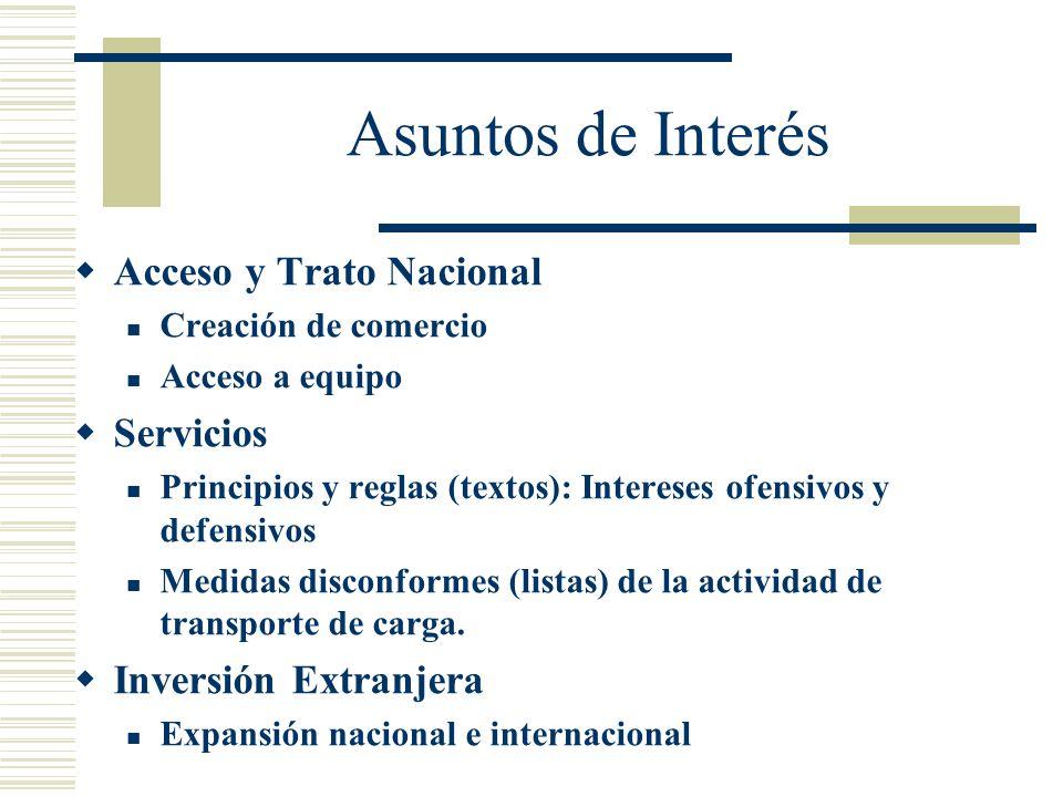 Asuntos de Interés Acceso y Trato Nacional Creación de comercio Acceso a equipo Servicios Principios y reglas (textos): Intereses ofensivos y defensiv