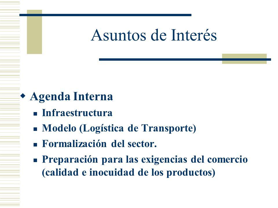 Asuntos de Interés Agenda Interna Infraestructura Modelo (Logística de Transporte) Formalización del sector. Preparación para las exigencias del comer