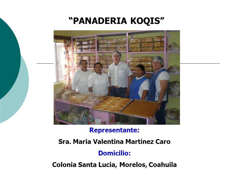 PANADERIA KOQIS Representante: Sra. Maria Valentina Martínez Caro Domicilio: Colonia Santa Lucia, Morelos, Coahuila