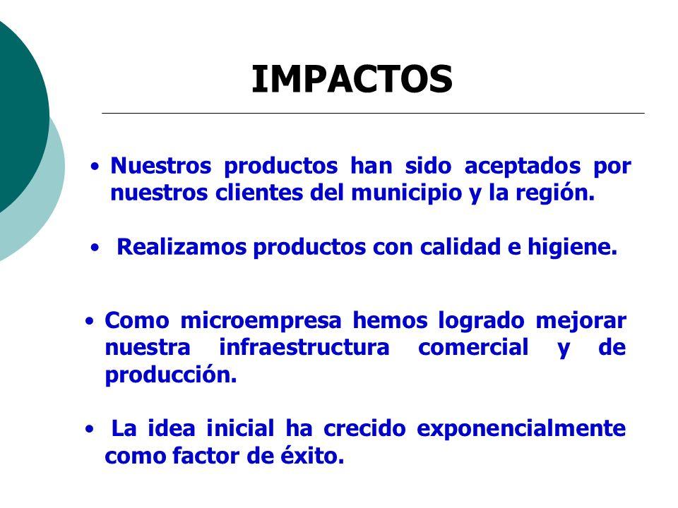 IMPACTOS Nuestros productos han sido aceptados por nuestros clientes del municipio y la región. Realizamos productos con calidad e higiene. Como micro