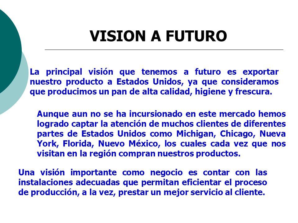 VISION A FUTURO Una visión importante como negocio es contar con las instalaciones adecuadas que permitan eficientar el proceso de producción, a la ve