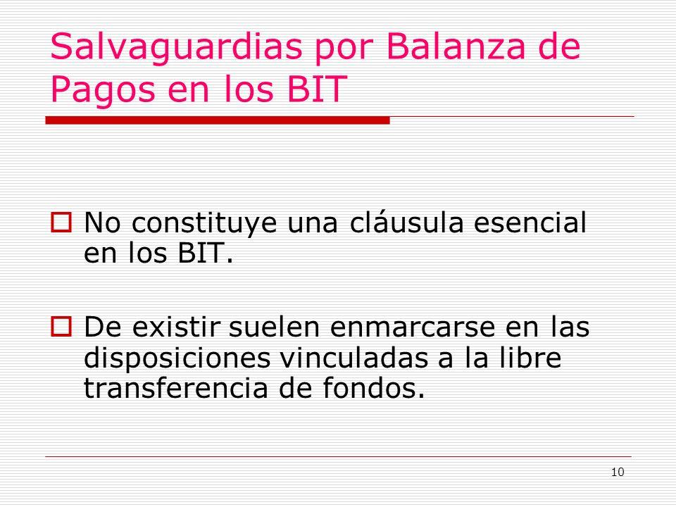 10 Salvaguardias por Balanza de Pagos en los BIT No constituye una cláusula esencial en los BIT.
