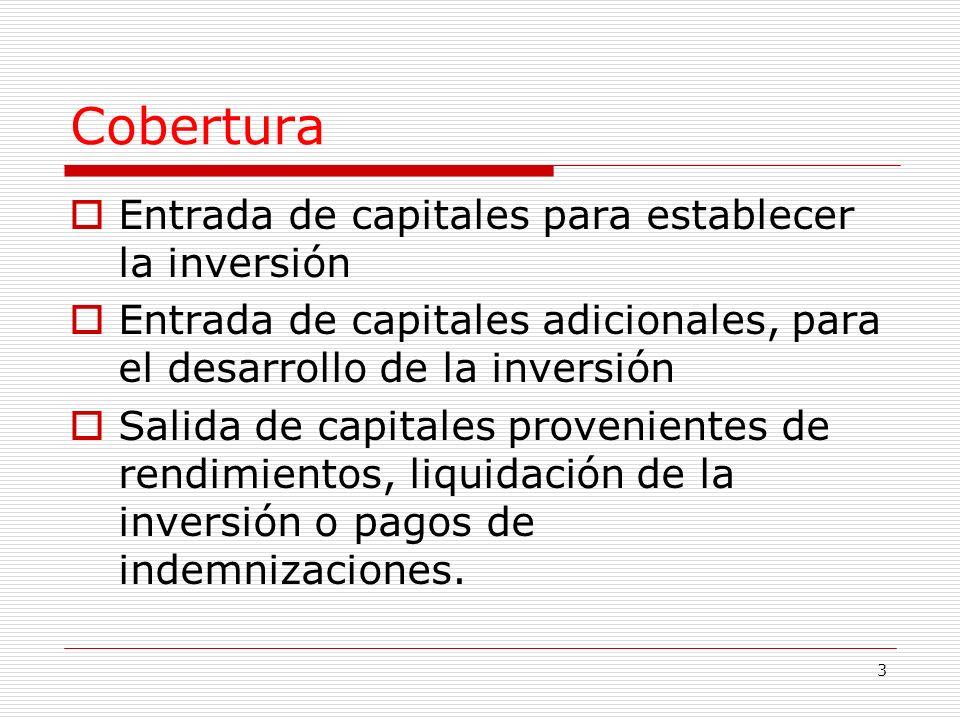 3 Cobertura Entrada de capitales para establecer la inversión Entrada de capitales adicionales, para el desarrollo de la inversión Salida de capitales provenientes de rendimientos, liquidación de la inversión o pagos de indemnizaciones.