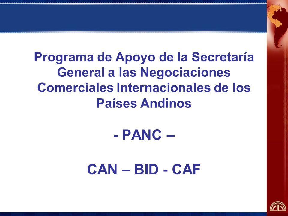 Escenarios de negociación Organización Mundial del Comercio - OMC Área de Libre Comercio de las Américas - ALCA Espacio Sudamericano: CAN-MERCOSUR Tratado de Libre Comercio con Estados Unidos Asociación con la Unión Europea Proyección hacia el Asia-Pacífico Plataforma Común: Comunidad Andina