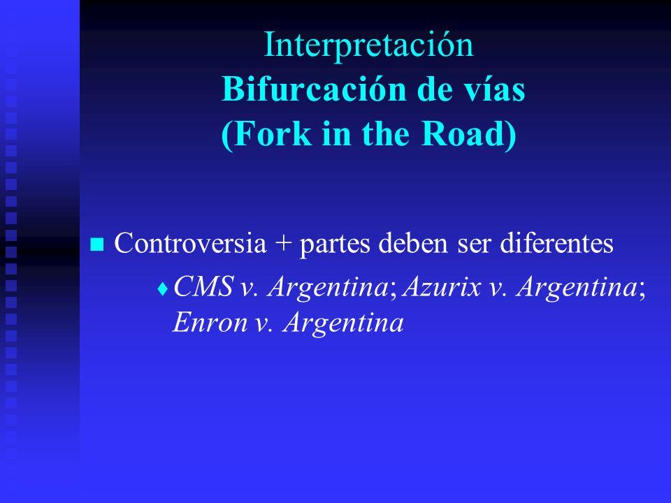 Interpretación Bifurcación de vías (Fork in the Road) Controversia + partes deben ser diferentes CMS v.