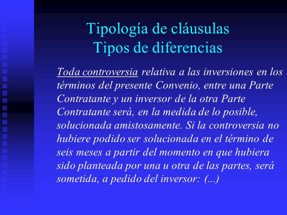 Tipología de cláusulas Tipos de diferencias Toda controversia relativa a las inversiones en los términos del presente Convenio, entre una Parte Contratante y un inversor de la otra Parte Contratante será, en la medida de lo posible, solucionada amistosamente.