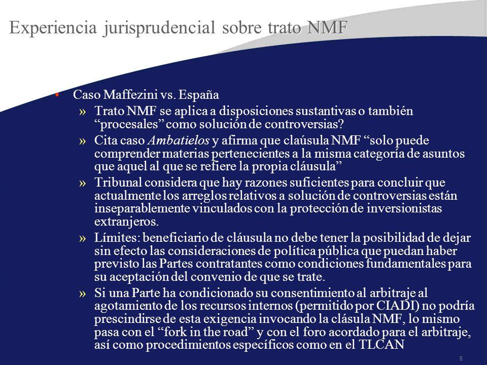 5 Experiencia jurisprudencial sobre trato NMF Caso Maffezini vs.