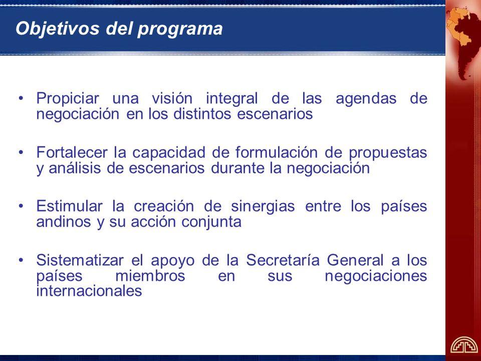 Objetivos del programa Propiciar una visión integral de las agendas de negociación en los distintos escenarios Fortalecer la capacidad de formulación de propuestas y análisis de escenarios durante la negociación Estimular la creación de sinergias entre los países andinos y su acción conjunta Sistematizar el apoyo de la Secretaría General a los países miembros en sus negociaciones internacionales