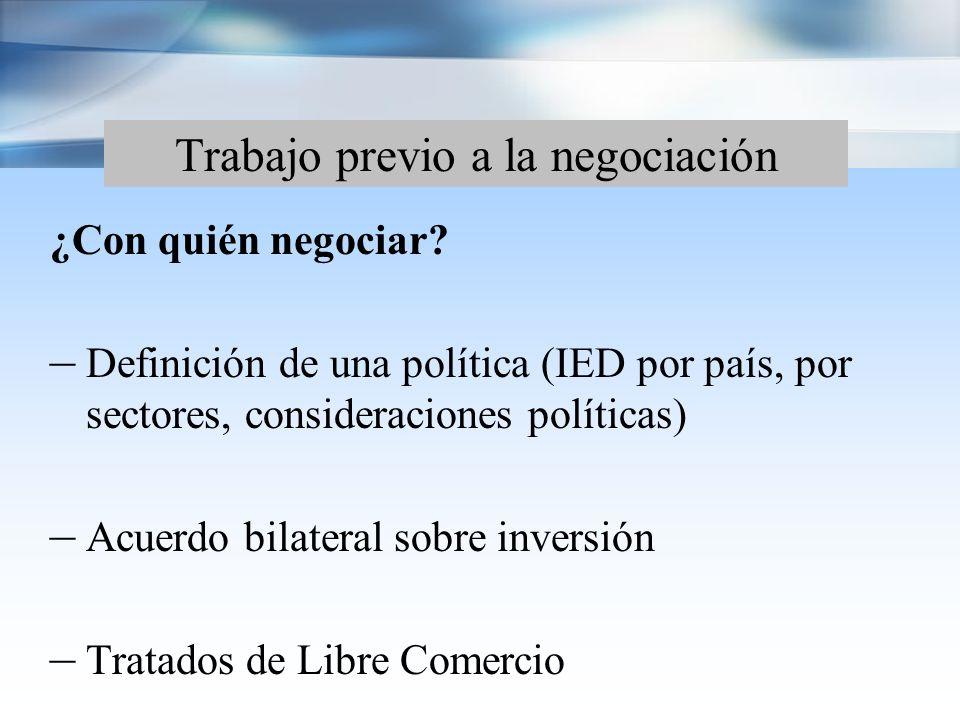 Trabajo previo a la negociación Conformación del equipo negociador: – Entidades competentes – Definición de liderazgos – Conocimientos técnicos