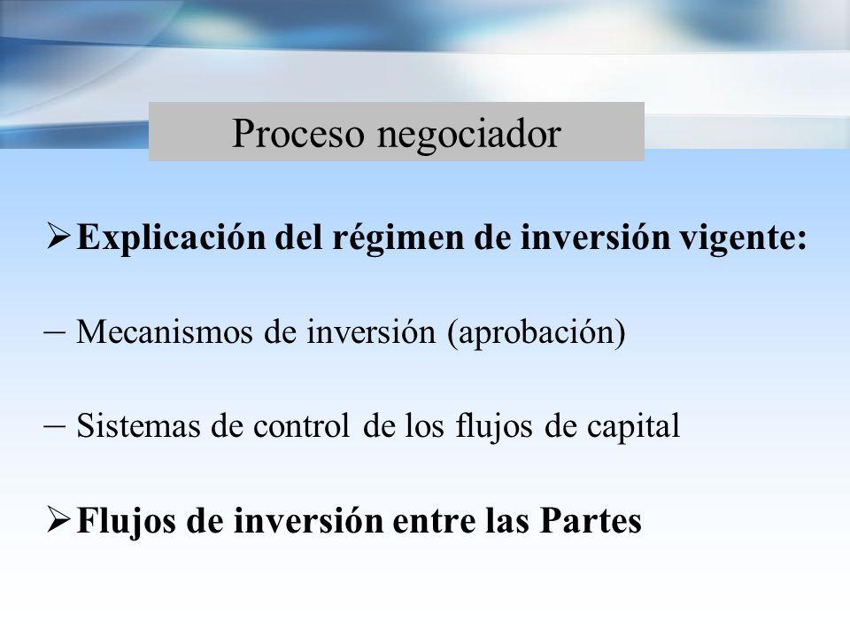Proceso negociador Acuerdos con Pre-establecimiento: – Presentación de listas de reservas – Trabajo intersectorial (telecom, transportes, pesca, energía etc.)