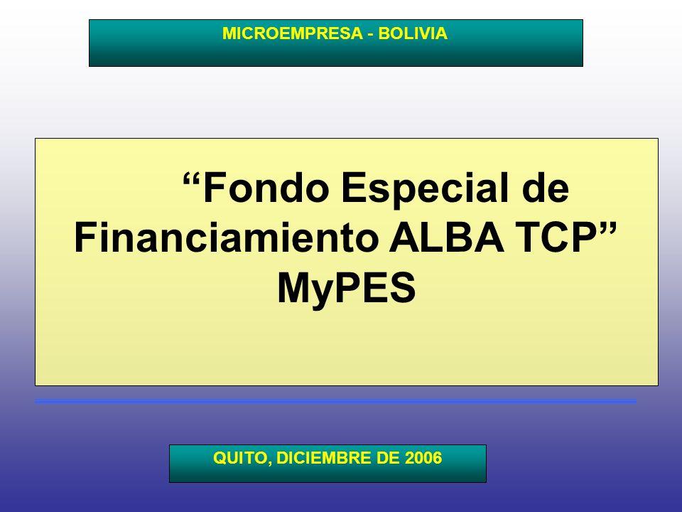 Fondo Especial de Financiamiento ALBA TCP MyPES MICROEMPRESA - BOLIVIA QUITO, DICIEMBRE DE 2006