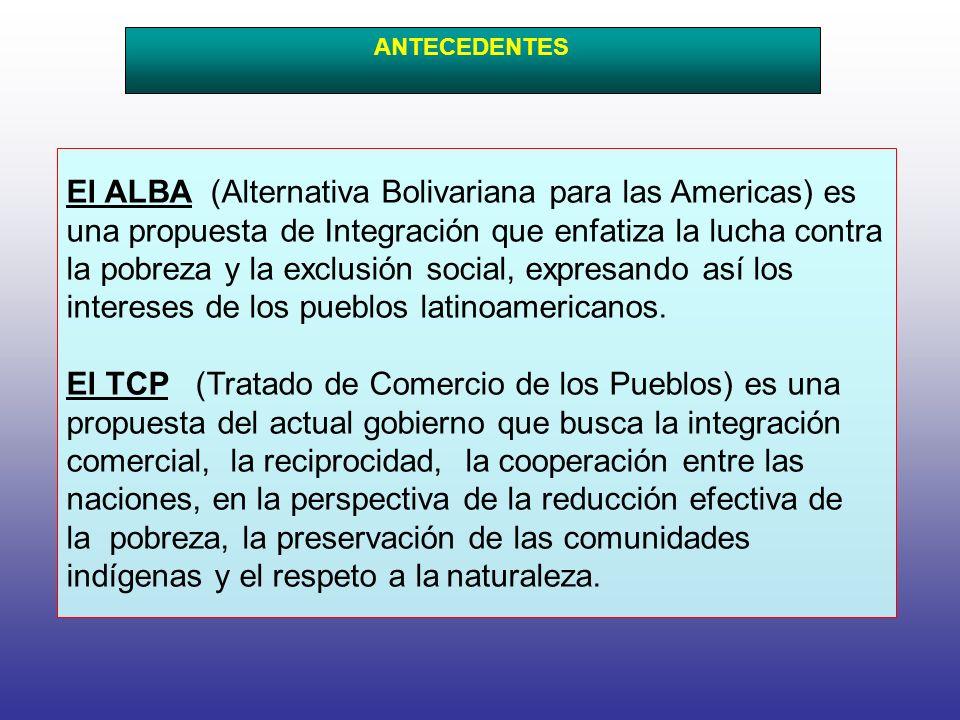 El ALBA (Alternativa Bolivariana para las Americas) es una propuesta de Integración que enfatiza la lucha contra la pobreza y la exclusión social, expresando así los intereses de los pueblos latinoamericanos.