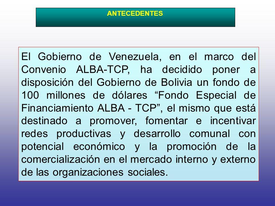 El Gobierno de Venezuela, en el marco del Convenio ALBA-TCP, ha decidido poner a disposición del Gobierno de Bolivia un fondo de 100 millones de dólares Fondo Especial de Financiamiento ALBA - TCP, el mismo que está destinado a promover, fomentar e incentivar redes productivas y desarrollo comunal con potencial económico y la promoción de la comercialización en el mercado interno y externo de las organizaciones sociales.