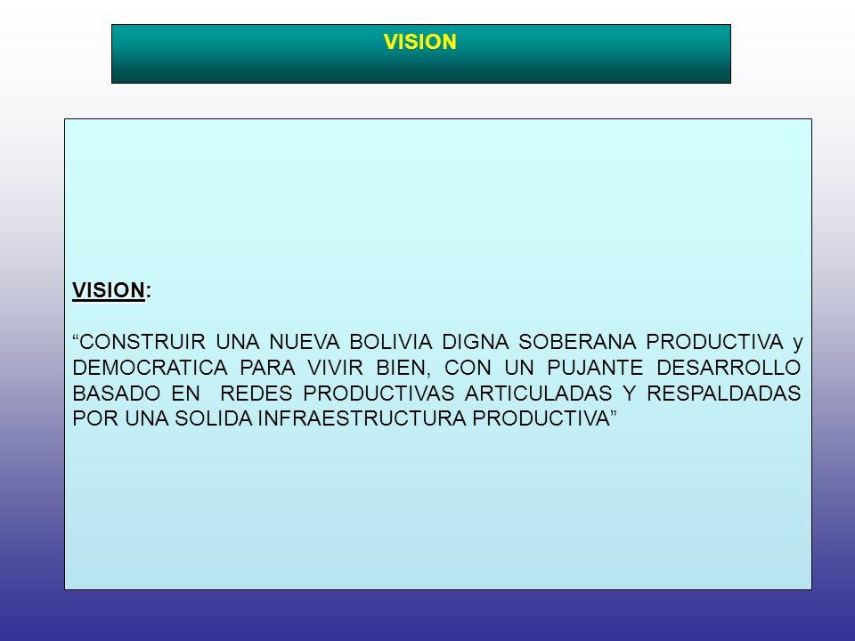 VISION: CONSTRUIR UNA NUEVA BOLIVIA DIGNA SOBERANA PRODUCTIVA y DEMOCRATICA PARA VIVIR BIEN, CON UN PUJANTE DESARROLLO BASADO EN REDES PRODUCTIVAS ARTICULADAS Y RESPALDADAS POR UNA SOLIDA INFRAESTRUCTURA PRODUCTIVA VISION