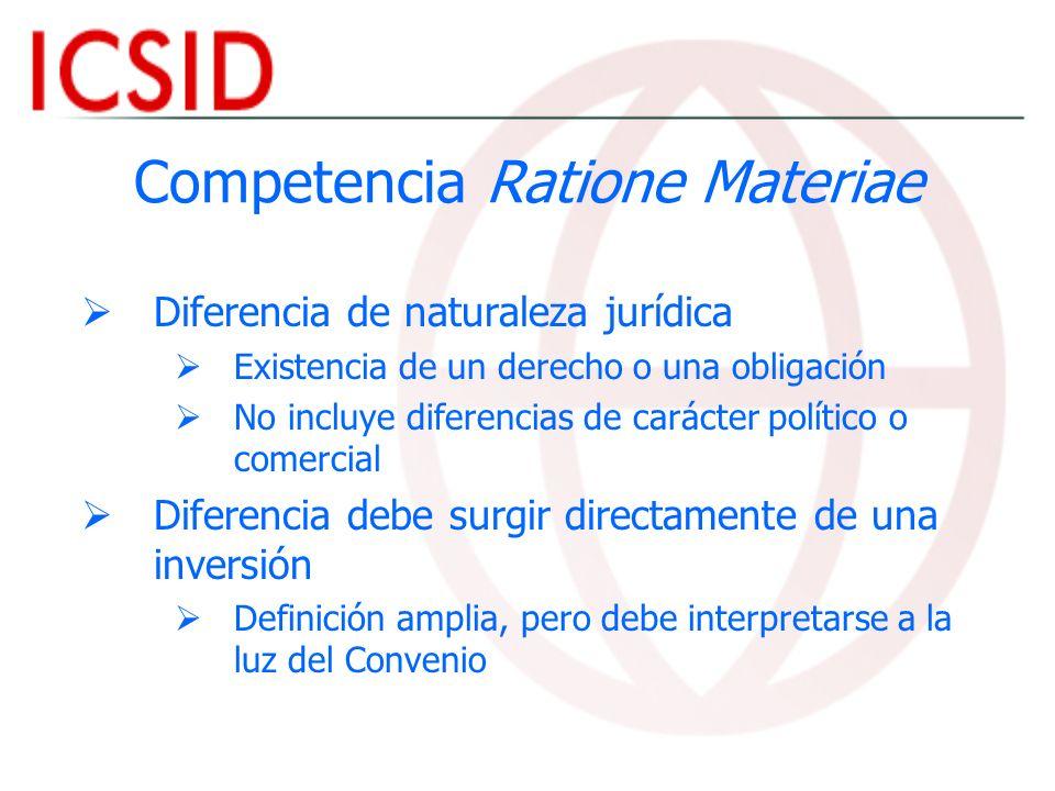 Competencia Ratione Materiae Diferencia de naturaleza jurídica Existencia de un derecho o una obligación No incluye diferencias de carácter político o