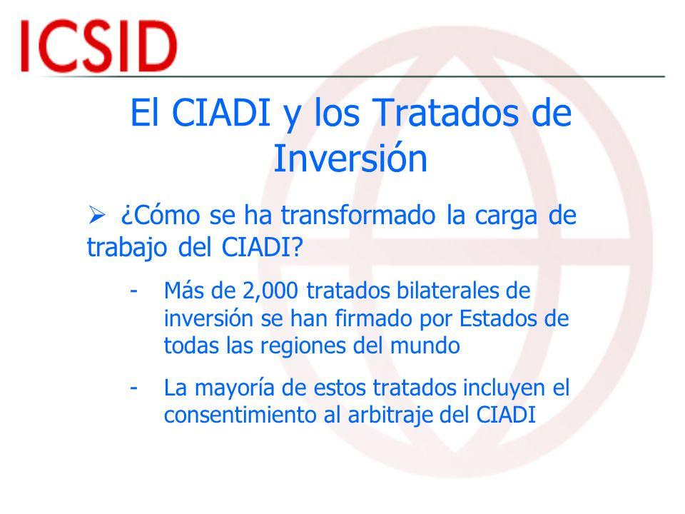 El CIADI y los Tratados de Inversión ¿Cómo se ha transformado la carga de trabajo del CIADI? - -Más de 2,000 tratados bilaterales de inversión se han
