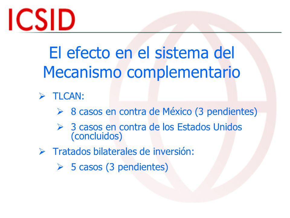 El efecto en el sistema del Mecanismo complementario TLCAN: 8 casos en contra de México (3 pendientes) 3 casos en contra de los Estados Unidos (conclu