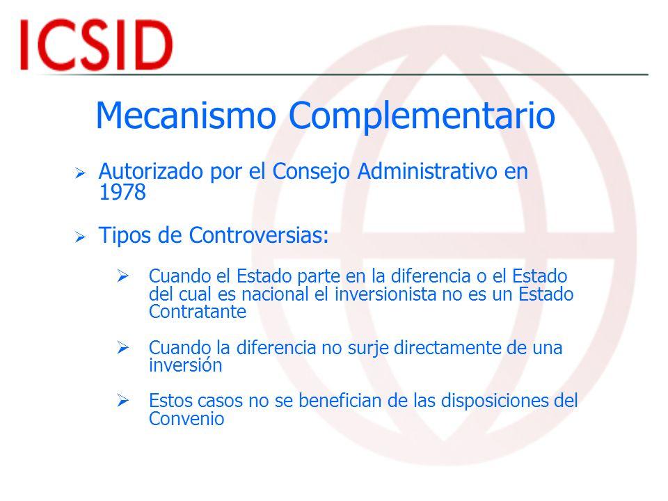 Mecanismo Complementario Autorizado por el Consejo Administrativo en 1978 Tipos de Controversias: Cuando el Estado parte en la diferencia o el Estado